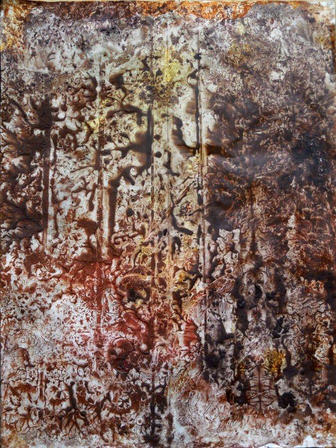 Icona I - terre e resine naturali su cartoncino intelato - cm. 70 x 100 - 2015