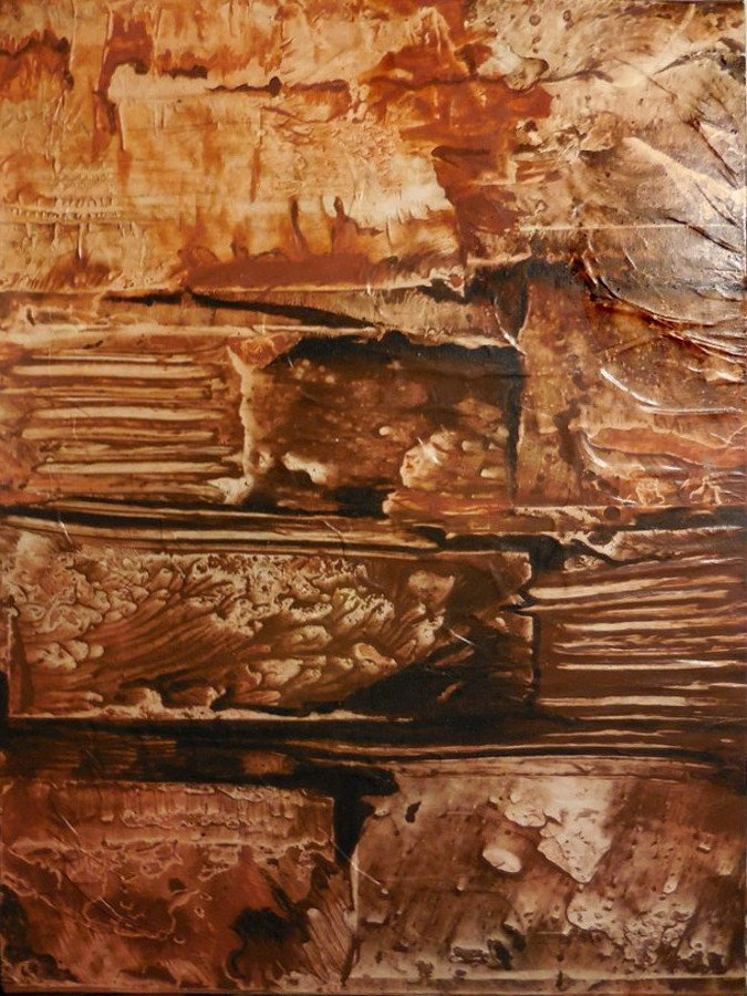 Il muro - terre e resine naturali su cartoncino intelato - cm. 100 x 70 - 2015