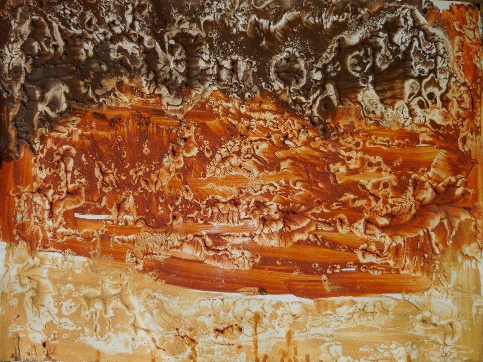 GEROGLIFICI CONTEMPORANEI I (2016) - cm. 70 x 50 - terre e resine naturali su cartoncino