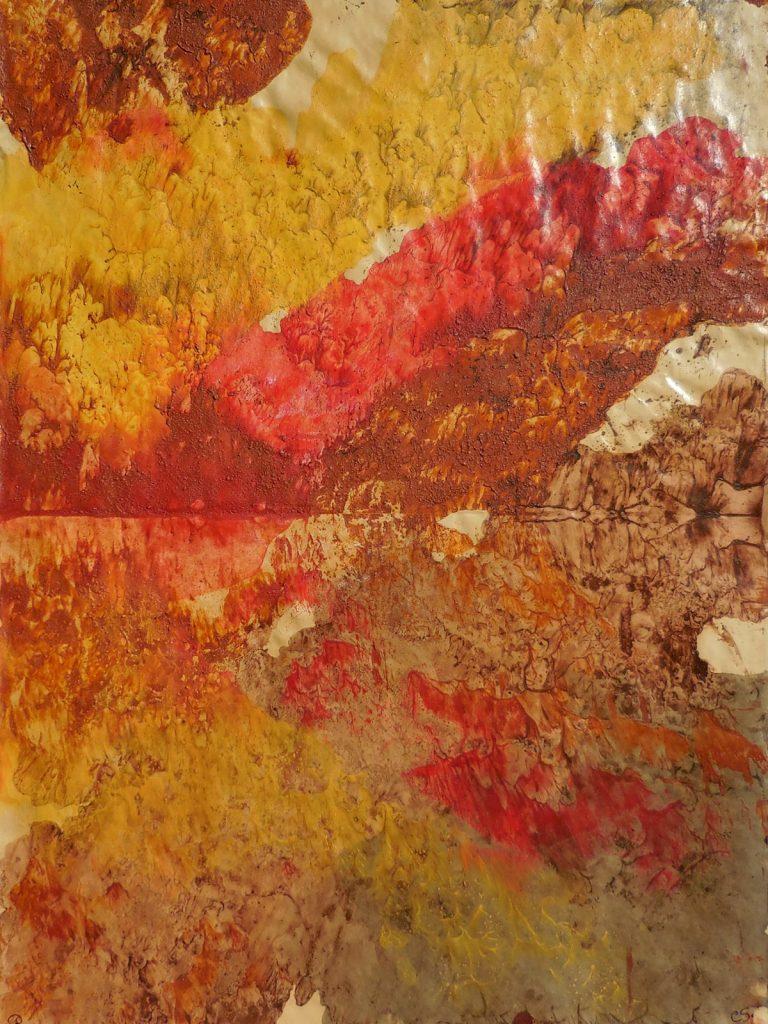 GIALLARANCIO (2015) - cm. 70 x 50 - terre e resine naturali su carta da macellaio