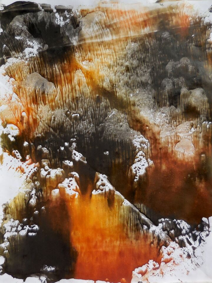 IMBRUNIRE (2016) - cm. 50 x 70 - terre e resine naturali su cartoncino
