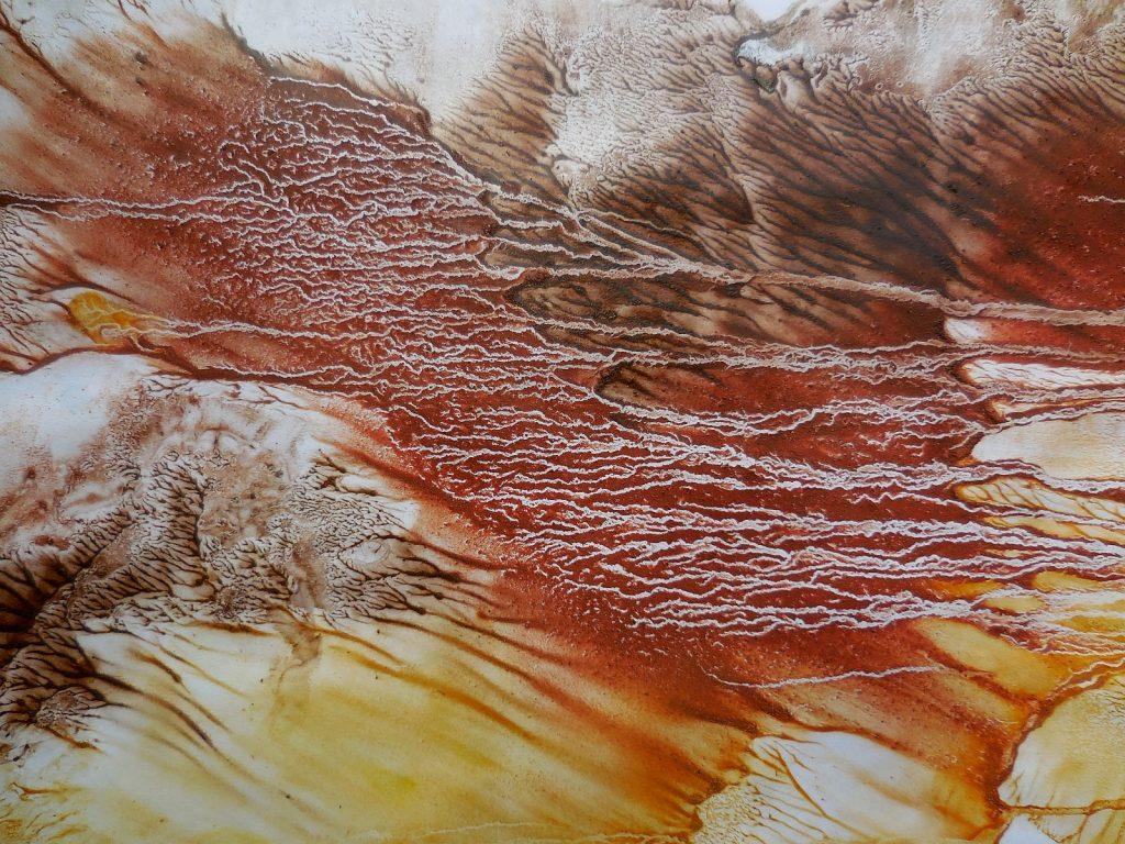 LAMPI DI GENIO I (2016) - cm. 70 x 50 - terre e resine naturali su cartoncino