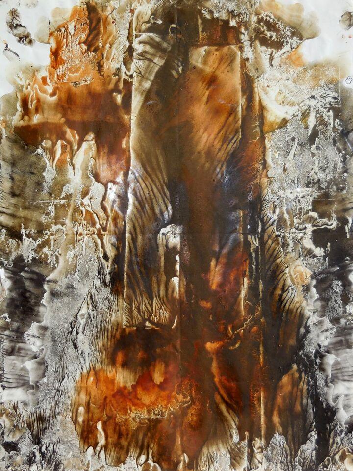 MONDI LONTANI III (2014) - cm. 33 x 47.5 - terre e resine naturali su carta