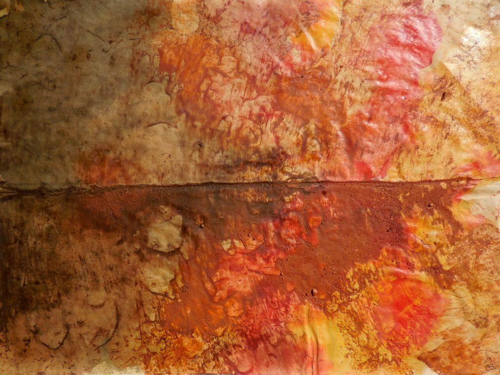 PAESAGGIO CON MARINA E GABBIANI (2015) - cm. 70 x 50 - terre e resine naturali su carta da macellaio