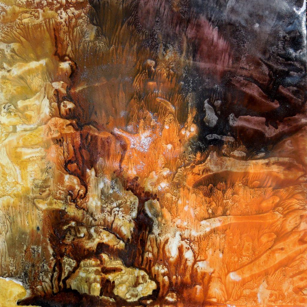 SECRET LANDSCAPE (2016) - cm. 60 x 60 - terre e resine naturali su cartoncino