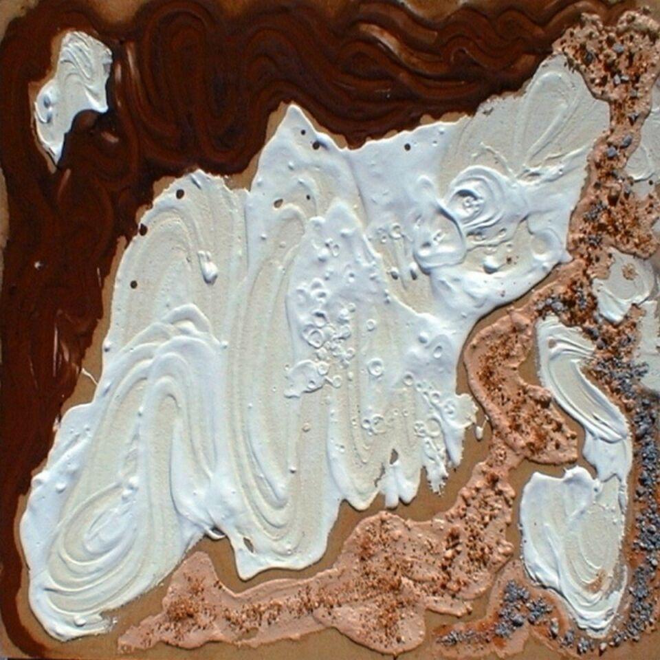 terre, resine naturali e gesso su faesite - 70 x 70 cm - 2001