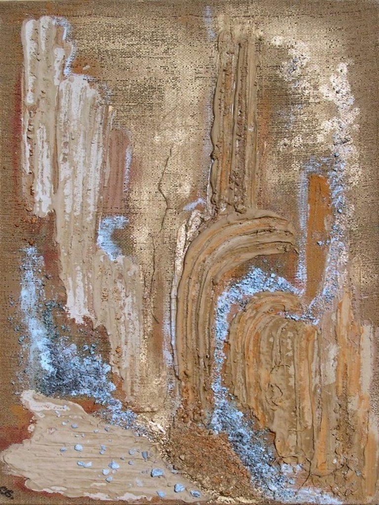 terre, resine naturali, gesso e oro su sacco - 60 x 90 cm - 2003