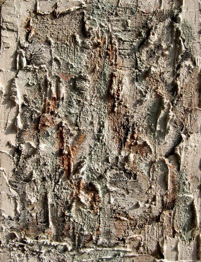 terre, resine naturali e gesso su tavola - 35 x 50 cm- 2005
