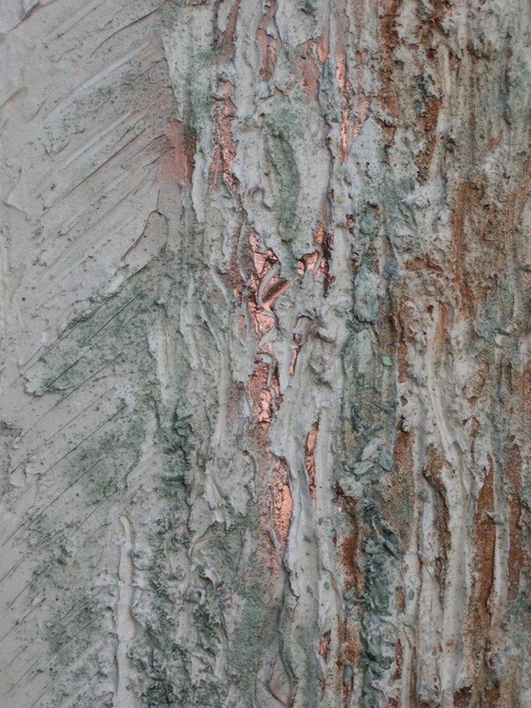terre, resine naturali e bronzina su tavola - 40 x 90 cm - 2008