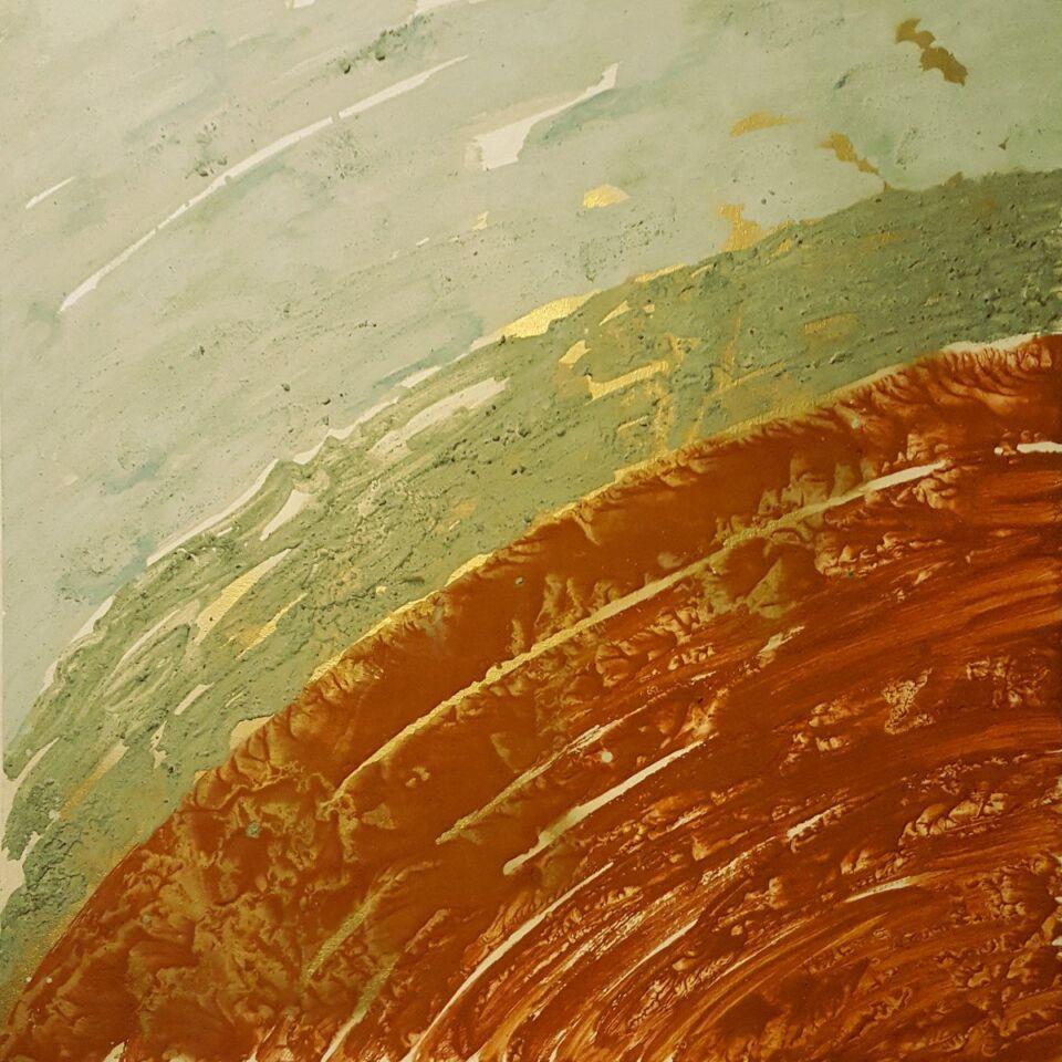 terre, resine naturali e oro su tavola - 100 x 100 cm - 2017